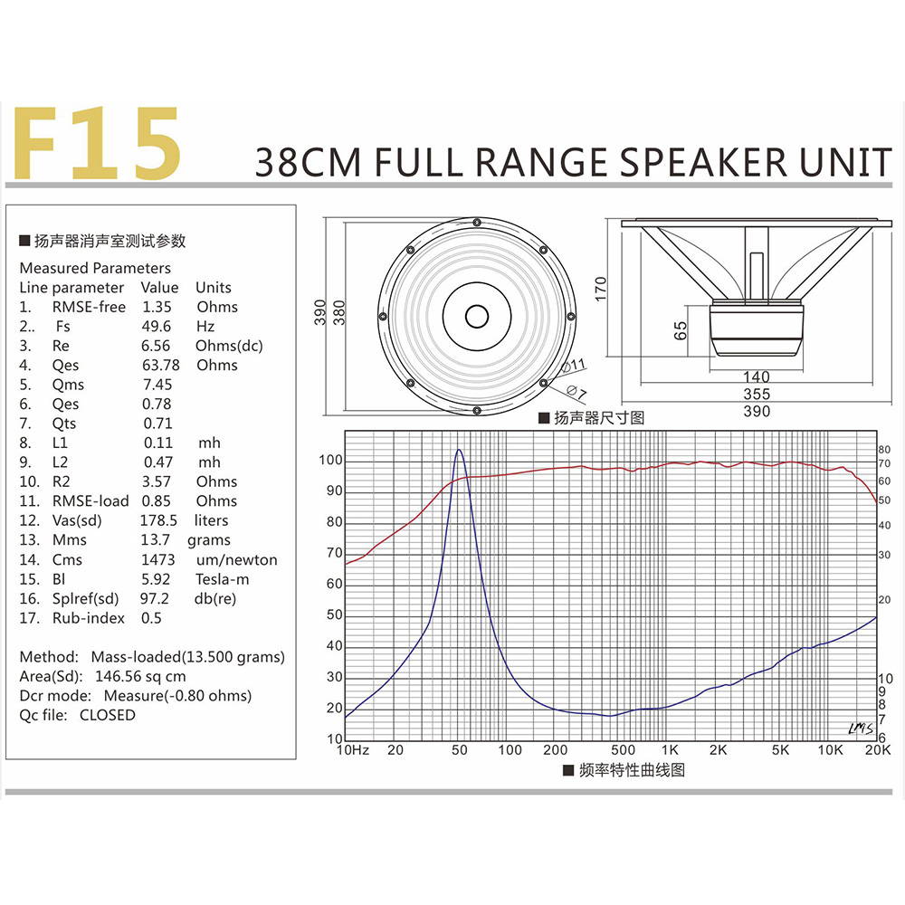 "15"" full range speaker driver F-15 technical data"
