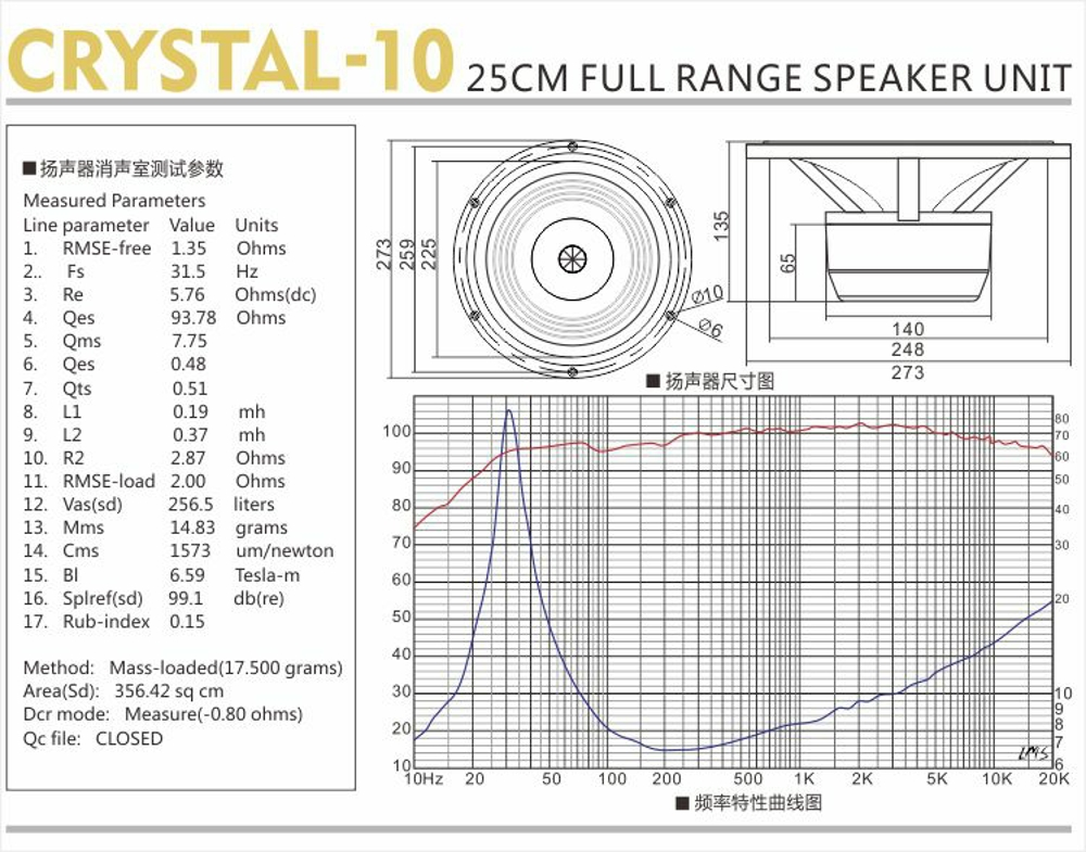 "Technical data of 10"" full range driver Crystal 10"
